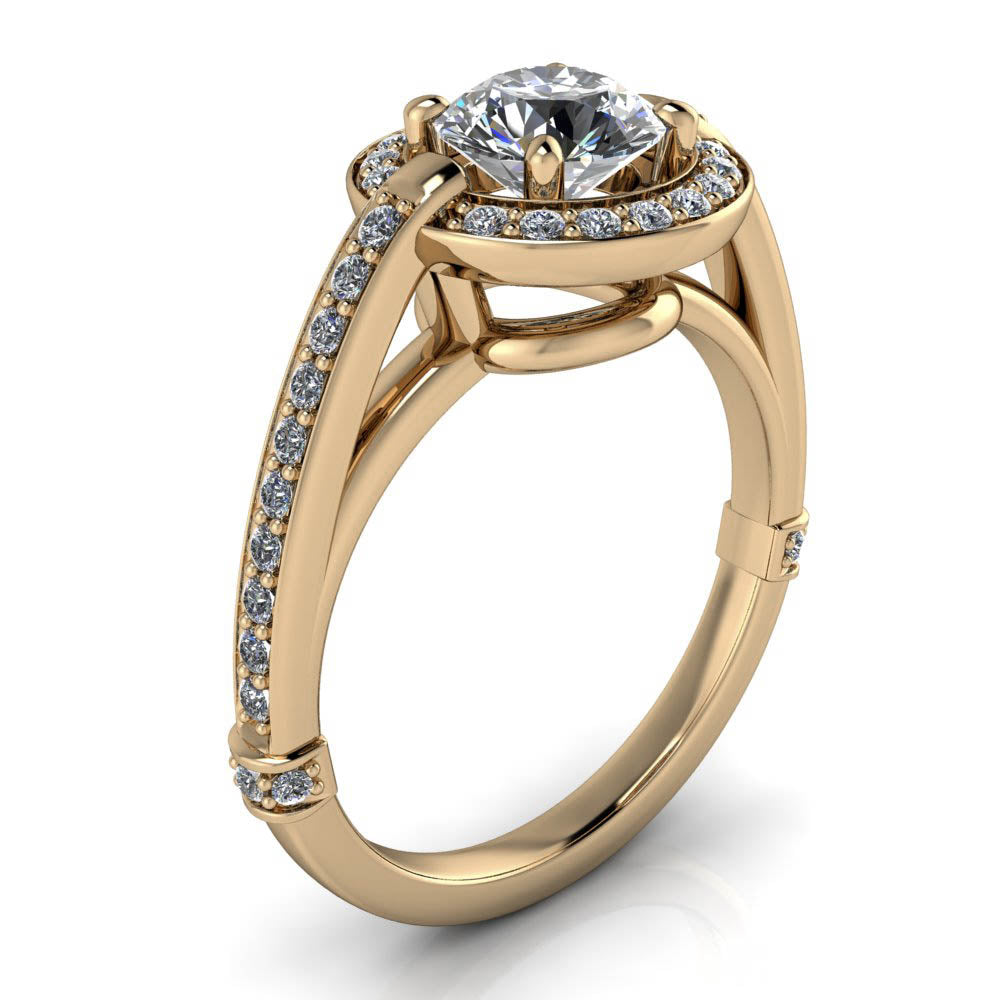 Modern Halo Engagement Ring - Ivanna - Moissanite Rings