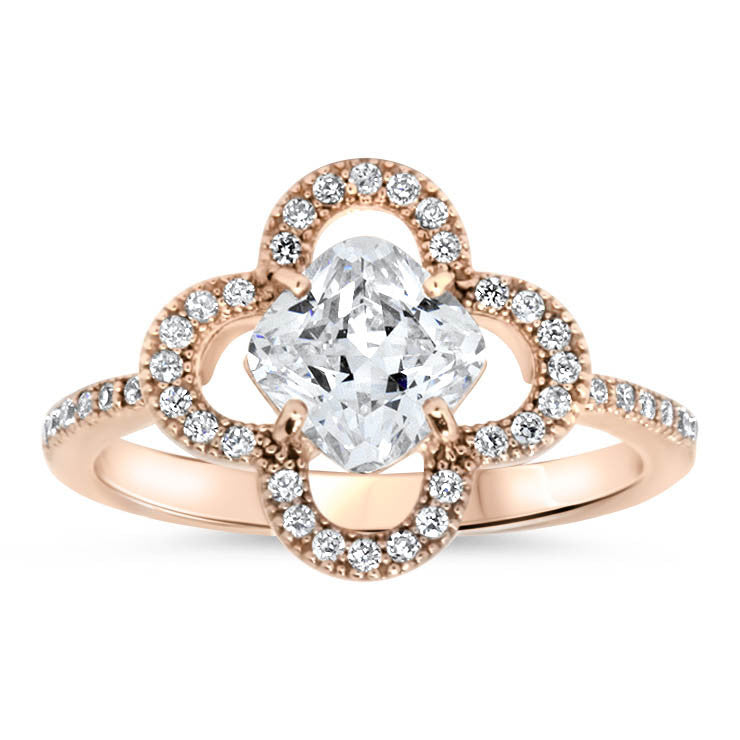 Blossom Floral Halo Moissanite Engagement Ring - Luann - Moissanite Rings