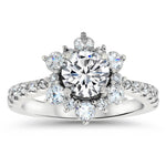 All Moissanite Snowflake Wedding Set Engagement Ring and Wedding Band - Snowflake Set - Moissanite Rings
