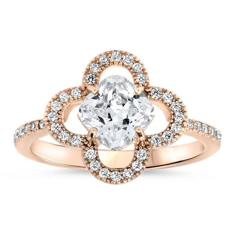 Abstract Floral Halo Engagement Ring - Luann - Moissanite Rings