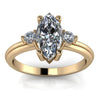Three Stone Marquise Engagement Ring - Fisk - Moissanite Rings