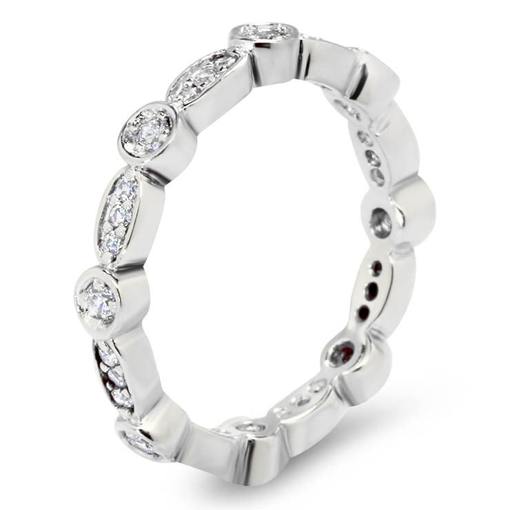 Link of Diamonds Eternity Wedding Band - Link - Moissanite Rings