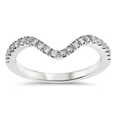 Diamond Curved Wedding Band - Fits Snowflake Engagement Ring - Moissanite Rings