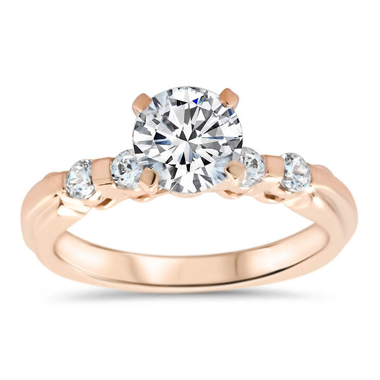 Bar Set Diamond Setting Forever One Moissanite Ring  - Evie