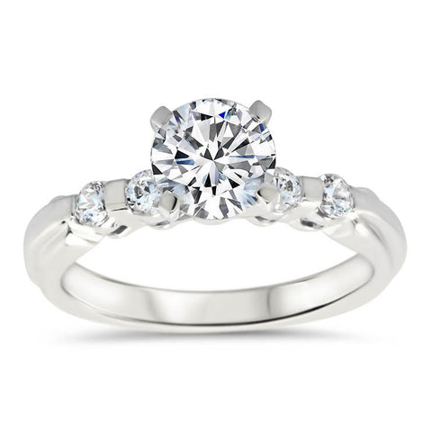 Bar Set Diamond Setting Forever One Moissanite Ring  - Evie - Moissanite Rings