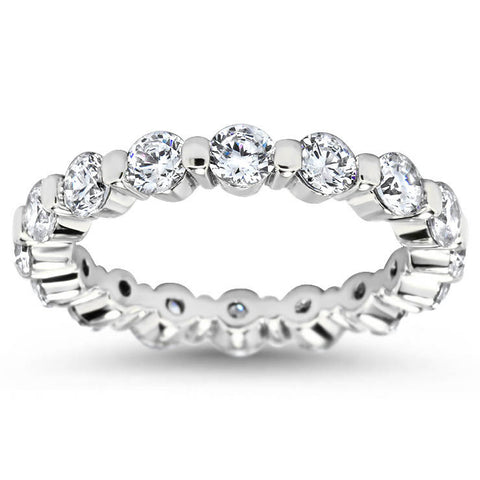 Single Prong Diamond Eternity Wedding Band - Dot II - Moissanite Rings
