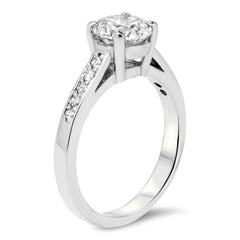 Forever One Moissanite Engagement Ring with Diamond Accents - Paige - Moissanite Rings