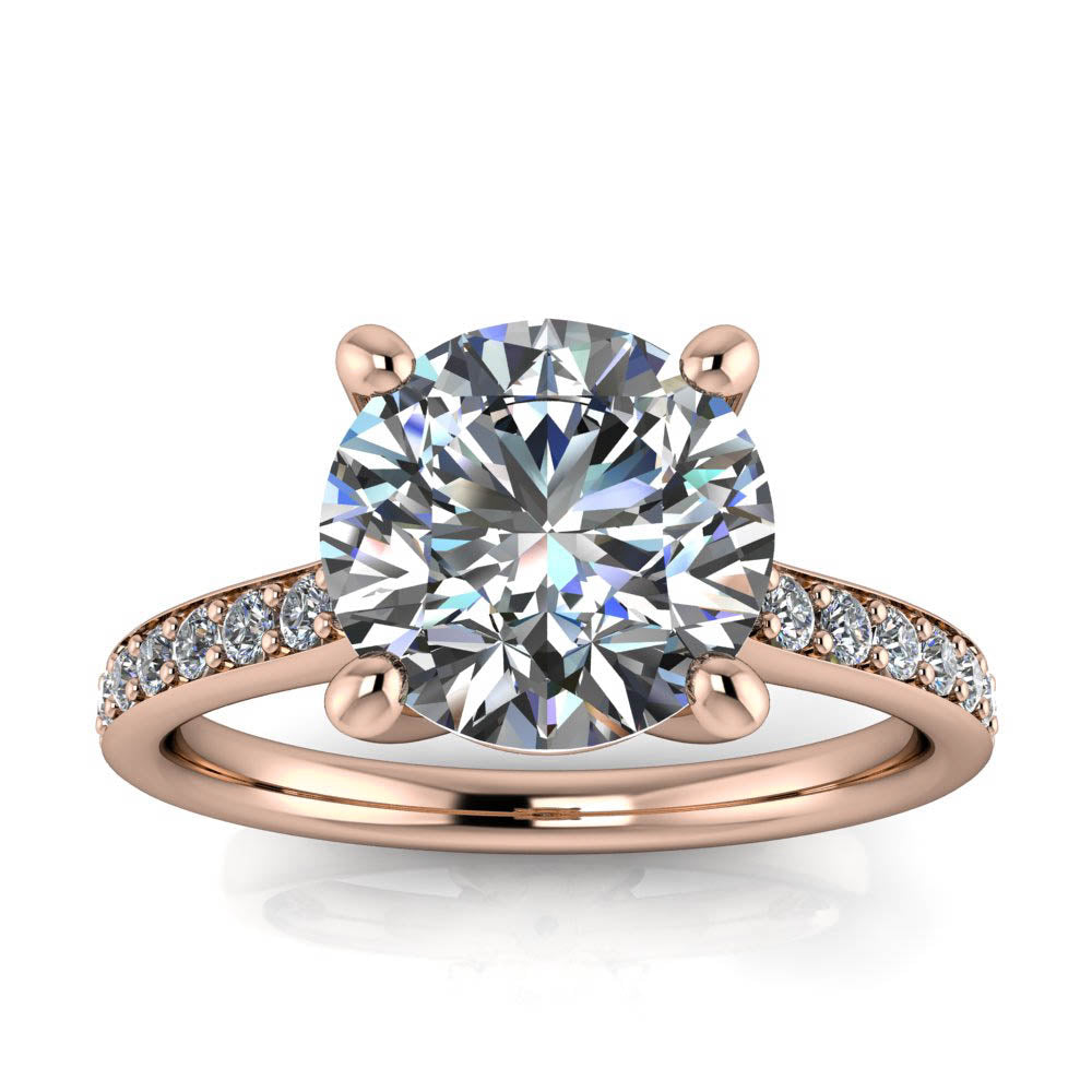 Large Moissanite Engagement Ring Thin Diamond Band- Alexa - Moissanite Rings