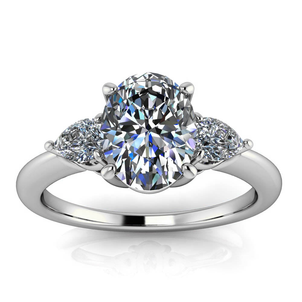 Oval and Pear Engagement Ring - Dexter - Moissanite Rings
