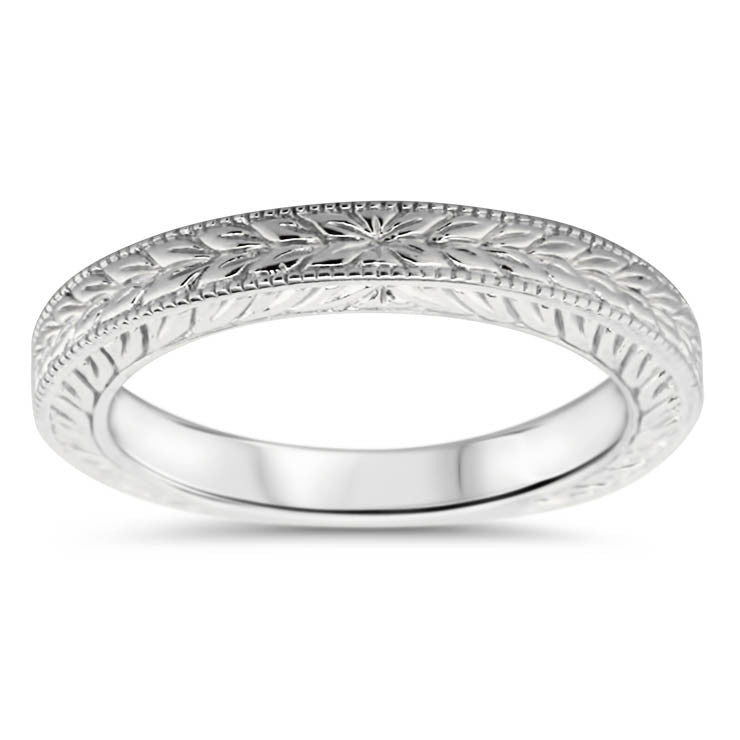 Engraved Band - Carved Solitaire Band