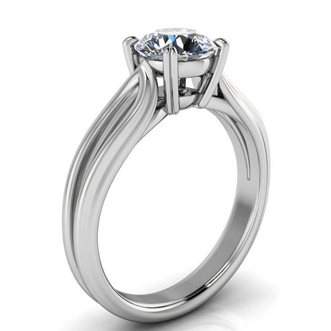 Split Shank Solitaire Engagement Ring - Adah - Moissanite Rings