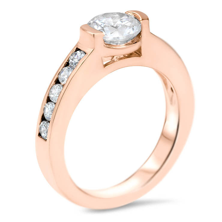 Moissanite Engagement Ring with Diamond Setting - Shari - Moissanite Rings