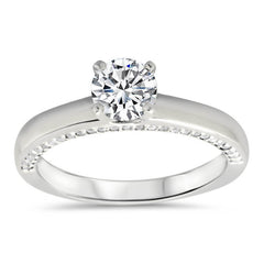 Diamond Accented Solitaire Style Wedding Set - Lucy  Set - Moissanite Rings