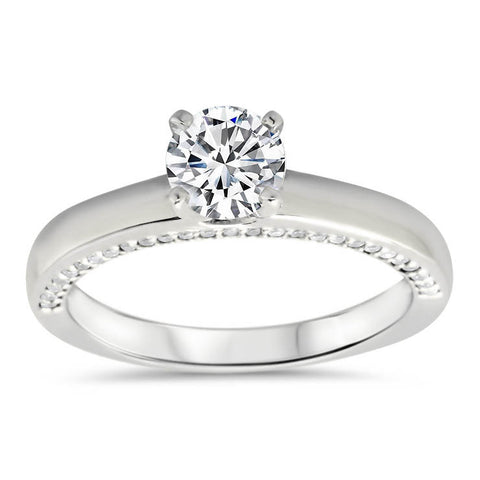 Diamond Accented Solitaire Style Moissanite Engagement Ring - Lucy