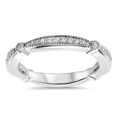 Diamond Vintage Inspired Wedding Band - Millie Band - Moissanite Rings