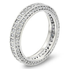 Three Sided Diamond Eternity Wedding Band - Spice - Moissanite Rings
