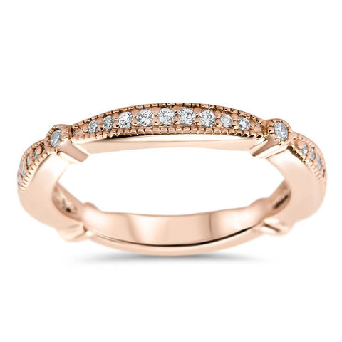 Diamond Vintage Inspired Wedding Band - Millie Band