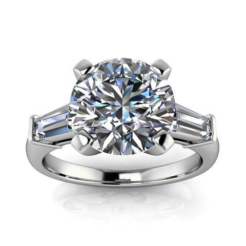 Tapered Baguette Diamond Moissanite Engagement Ring - Brooks 9 mm