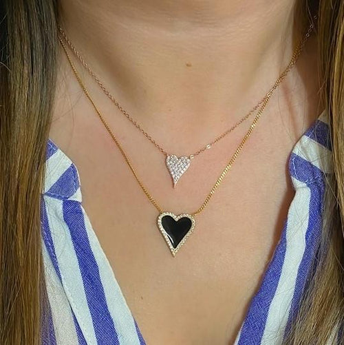 Black Enamel and Diamond Heart
