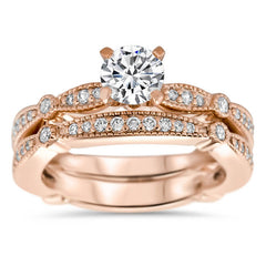 Vintage Inspired Wedding Set - Millie Wedding Set - Moissanite Rings