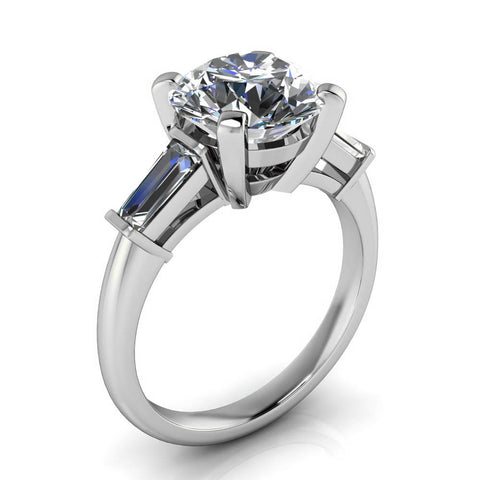 CUSTOM Tapered Baguette Diamond Moissanite Engagement Ring - Brooks 9 mm - Moissanite Rings