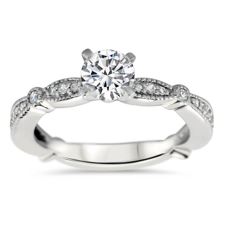 Vintage Inspired Diamond Engagement Ring Setting - Millie - Moissanite Rings