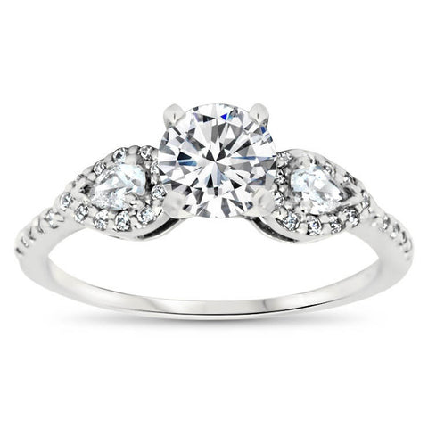 Dainty Pear Shaped Diamond Setting Moissanite Engagement Ring - Jess - Moissanite Rings