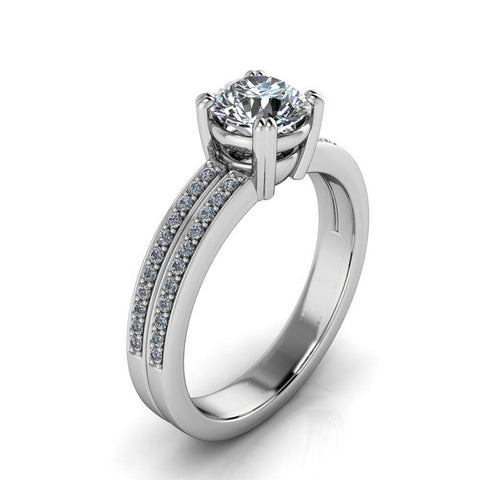Double Row Diamond and Moissanite Engagement Ring - Brett - Moissanite Rings