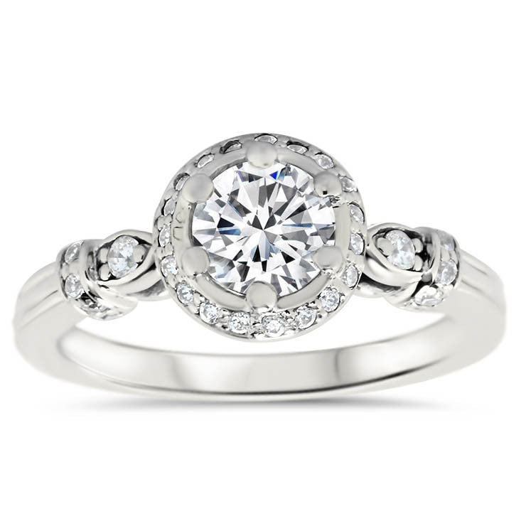 Vintage Inspired Diamond Halo Wedding Set - Regal Wedding Set - Moissanite Rings