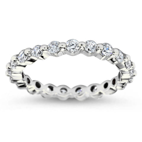 Single Prong Diamond Eternity Wedding Band - Dot - Moissanite Rings