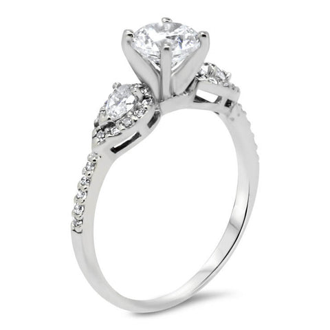 Dainty Pear Shaped Diamond Setting Engagement Ring - Jess - Moissanite Rings