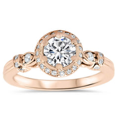 Forever One Center Diamond Halo Engagement Ring - Regal - Moissanite Rings