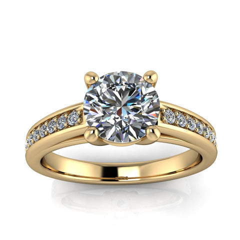 Diamond Accented Engagement Ring Moissanite Center - Terri - Moissanite Rings