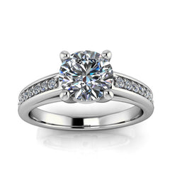 Moissanite and Diamond Engagement Ring - Boris - Moissanite Rings