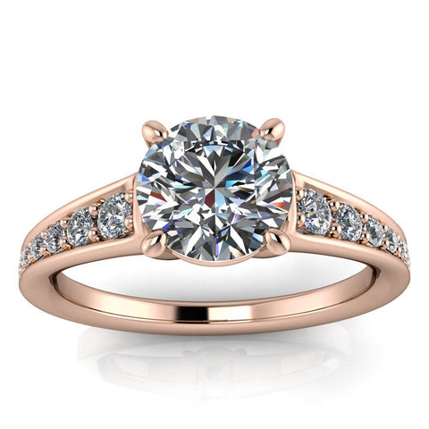Diamond Moissanite Engagement Ring - Genevieve - Moissanite Rings