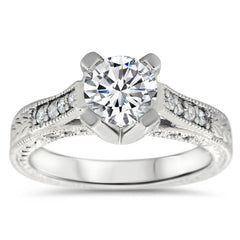 Vintage Inspired Carved Diamond Engagement Ring - Royal Crown - Moissanite Rings