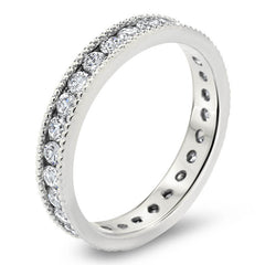 Vintage Style Channel Set Diamond Eternity Band -  Spark - Moissanite Rings