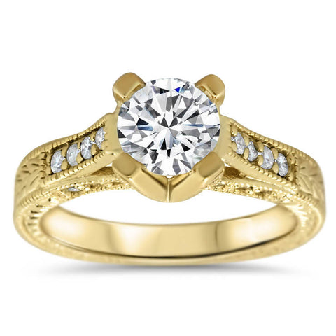 Vintage Inspired Carved Diamond Engagement Ring - Royal Crown