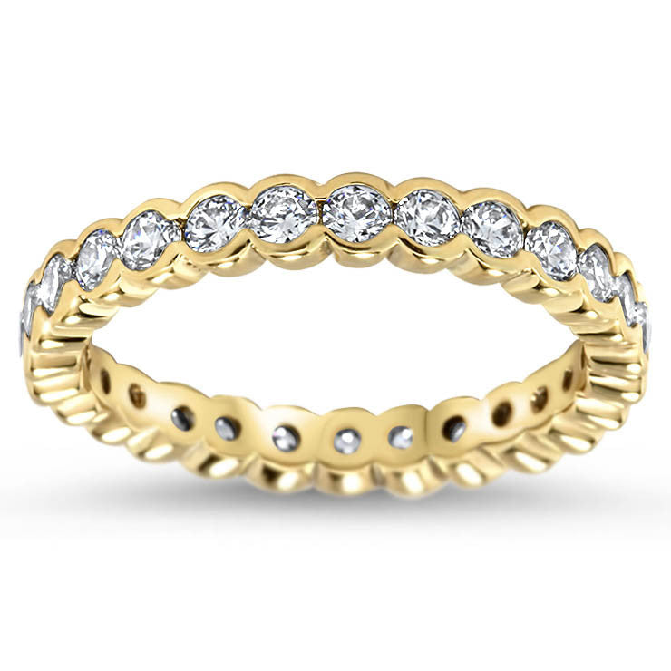 Bezel Set Diamond Eternity Wedding Band - Drop - Moissanite Rings