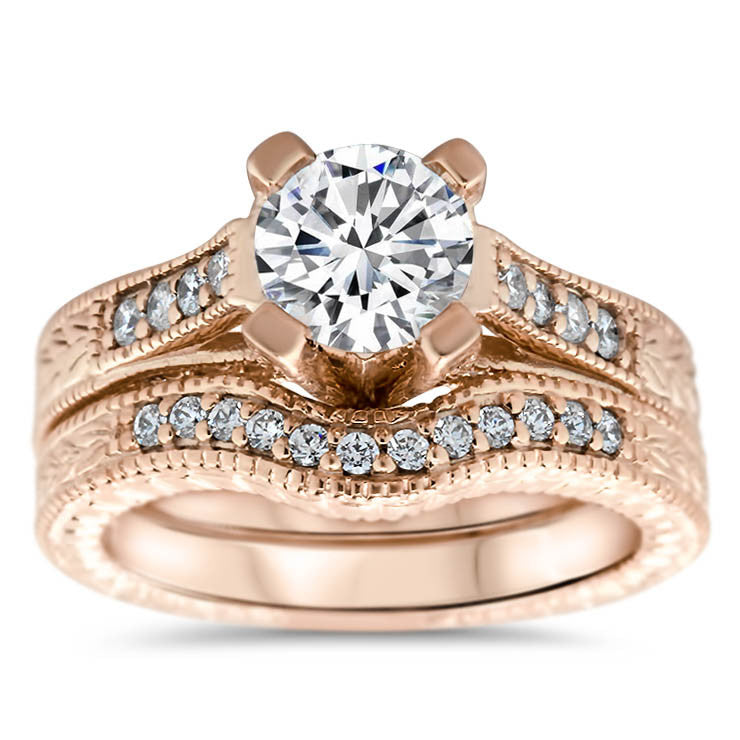 Vintage Inspired Set Engagement Ring and Wedding Band ...