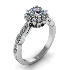 Dainty Floral Style Engagement ring - Fleur - Moissanite Rings