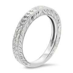 Engraved Band - Carved Solitaire Band - Moissanite Rings