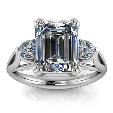 Emerald Cut Moissanite Engagement Ring - Nathan Emerald - Moissanite Rings
