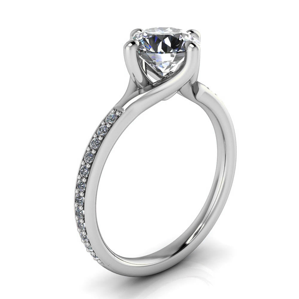 Compass Set 1.25 ct Center Moissanite Engagement Ring - North - Moissanite Rings
