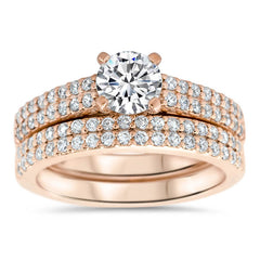 Double Row Diamond Wedding Set Engagemnt Ring and Matching Band - Doll Set - Moissanite Rings