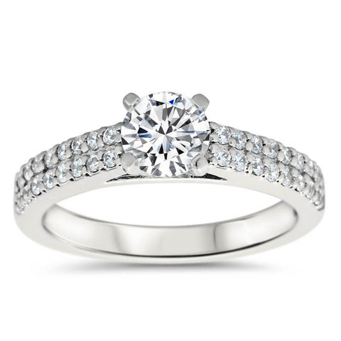 Double Row Diamond Engagement Ring Moissanite Center - Doll - Moissanite Rings