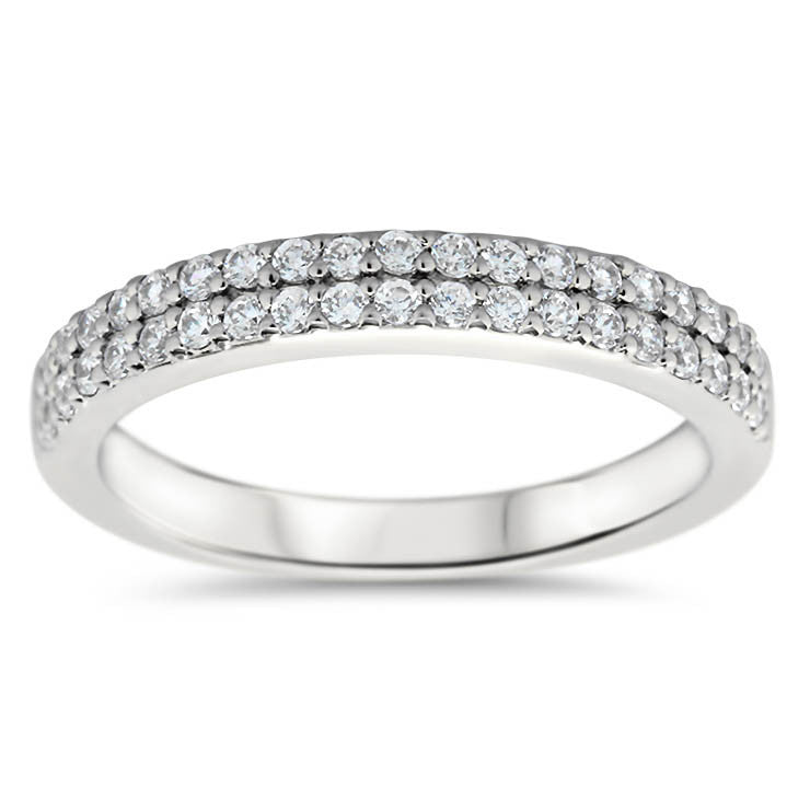 Double Row Diamond Band - Doll  Band - Moissanite Rings