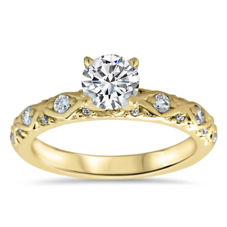 Vintage Inspired Diamond Engagement Ring Setting - Ziggy - Moissanite Rings