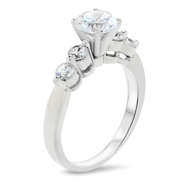 Single Prong Diamond Wedding Set Moissanite Center - Sheila - Moissanite Rings