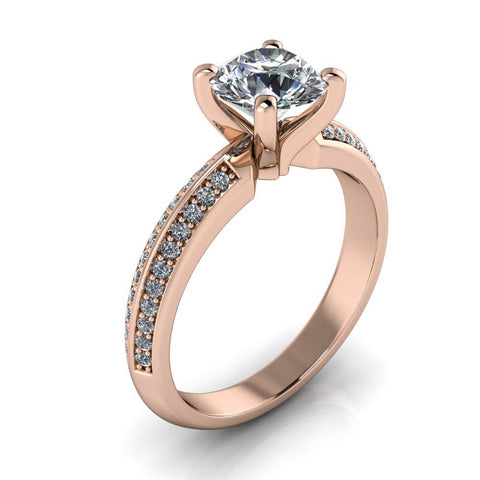 Diamond Knife Edge Moissanite Engagement Ring - Rio - Moissanite Rings